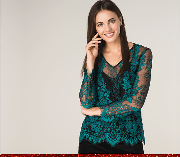 Woman in a green lace blouse