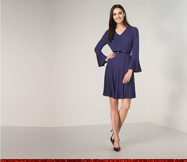 Woman in a royal blue dress