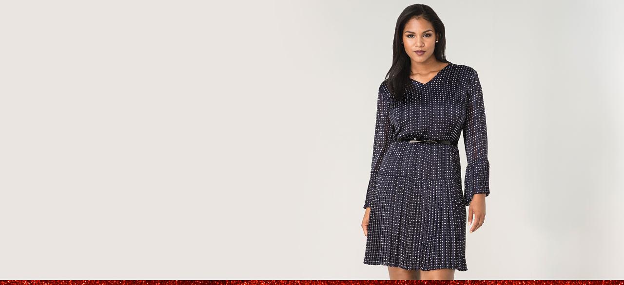 Woman in a dot print dress