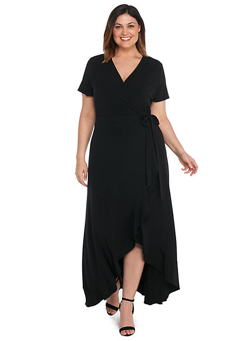 Plus Size Short Sleeve High Low Ruffle Dress