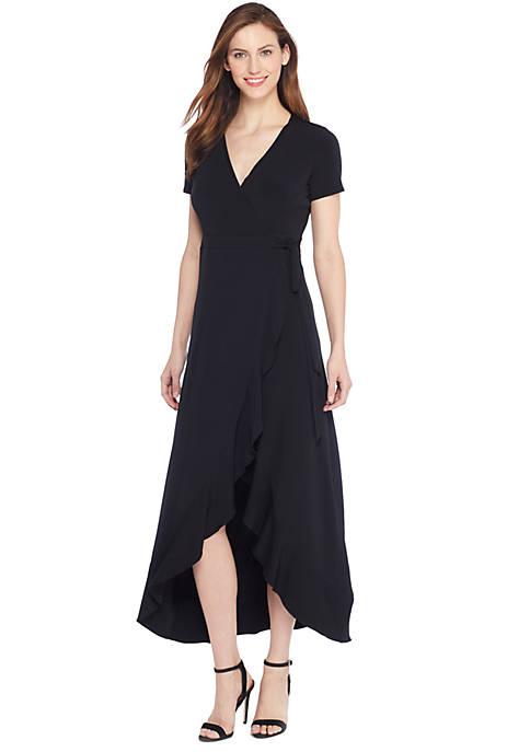 Short Sleeve High Low Ruffle Dress