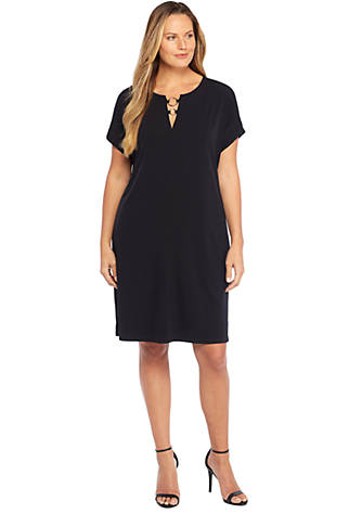 Plus Size Short Sleeve Circle Hardware Dress
