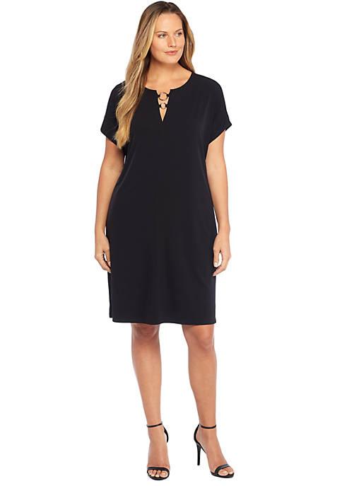 Plus Size Short Sleeve Circle Hardware Dress