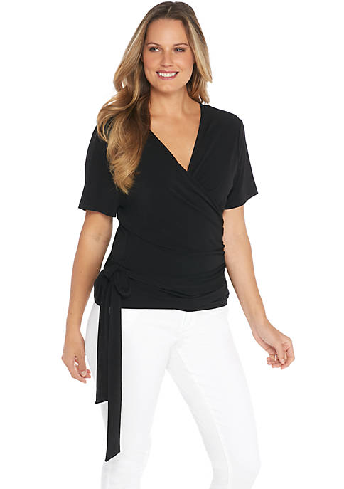 Plus Size Reversible Tie Waist Top