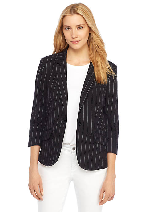 Petite One Button Linen Blazer