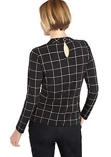 Long Sleeve Drape Front Knit Top