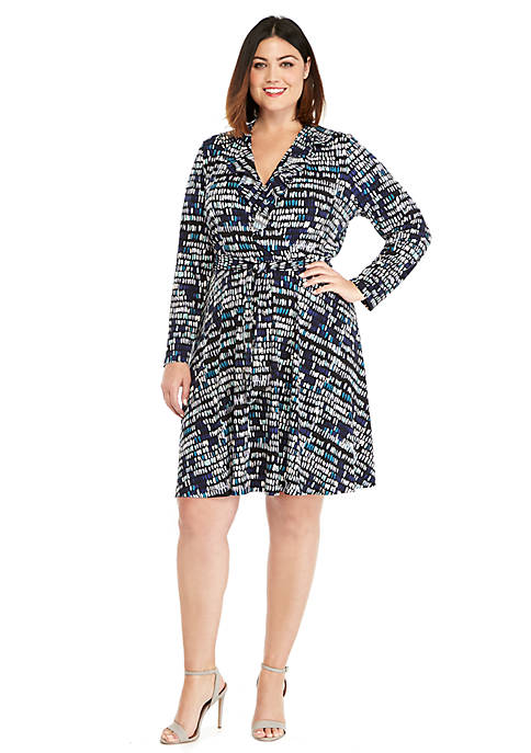 Plus Size 3/4 Sleeve Wrap Dress