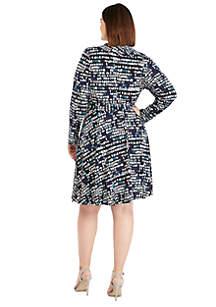 Plus Size 3 4 Sleeve Wrap Dress 98a918afd