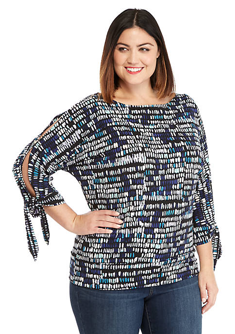 Plus Size Printed Banded Bottom Knit Top