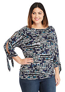 66d81b7b7ed Plus Size Printed Banded Bottom Knit Top