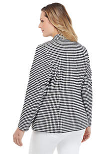 Plus Size Two Button Blazer in Gingham