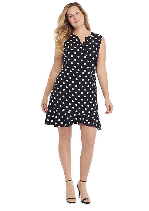 Plus Size Sleeveless Surplice Ruffle Hem Dress