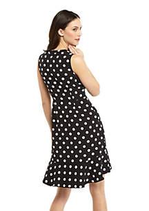 Petite Sleeveless Button Surplice Ruffle Hem Dress