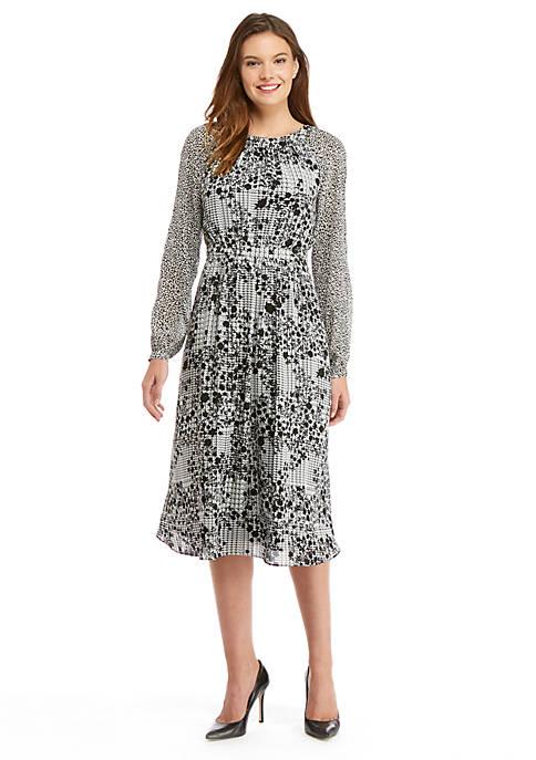 Petite Long Sleeve Fluid Crepe Midi Dress