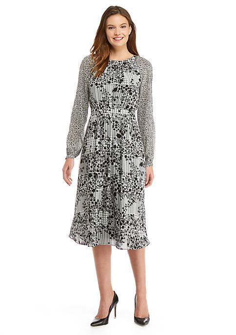 Long Sleeve Fluid Crepe Midi Dress