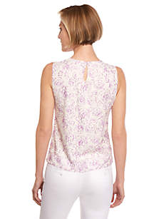 Petite Printed Lace Shell Top