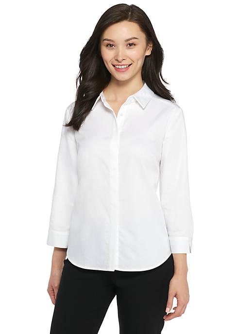 Petite Three-Quarter Sleeve Button Down Shirt