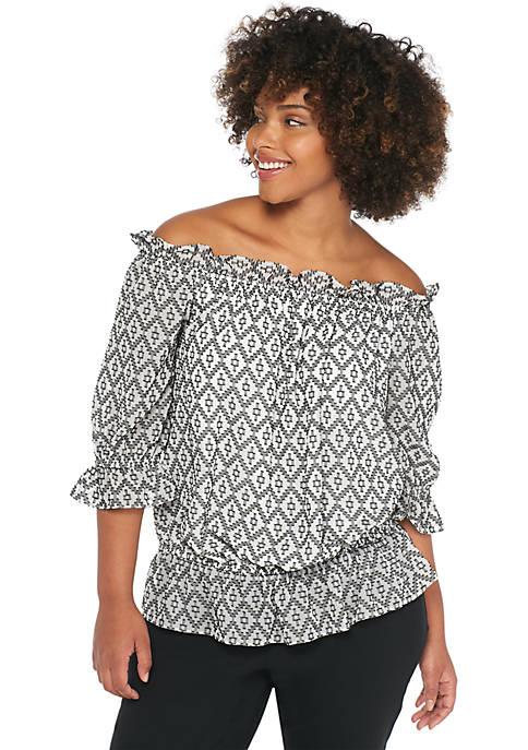 Plus Size Clip Dot Jacquard Off-the-Shoulder Blouse