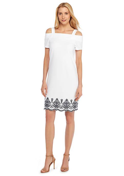 Cold Shoulder Embroidered Dress