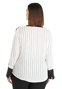 23fa05fe360 Plus Size Contrast Bell Sleeve Blouse