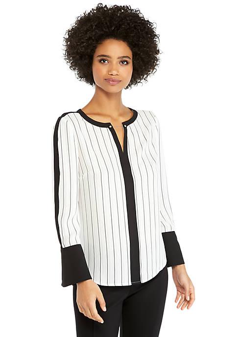 Contrast Stripe Bell Sleeve Blouse