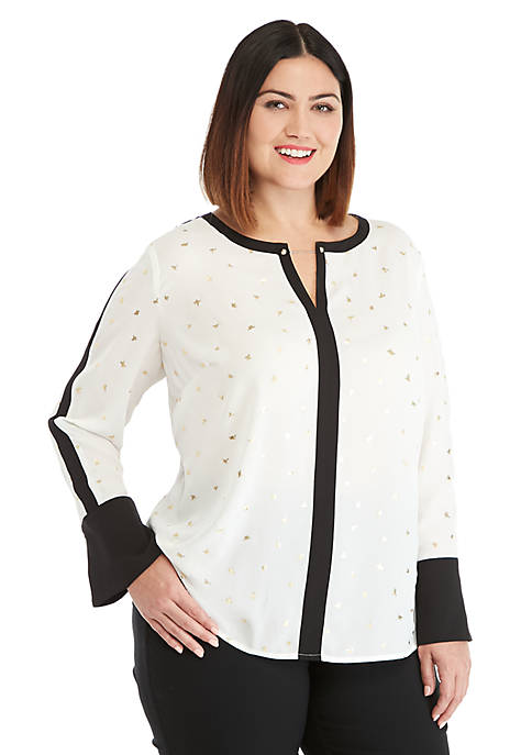 Plus Size Contrast Bell Sleeve Blouse