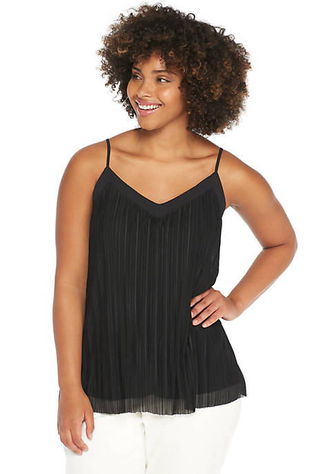 Plus Size V-Neck Spaghetti Strap Plisse Tank with Trim
