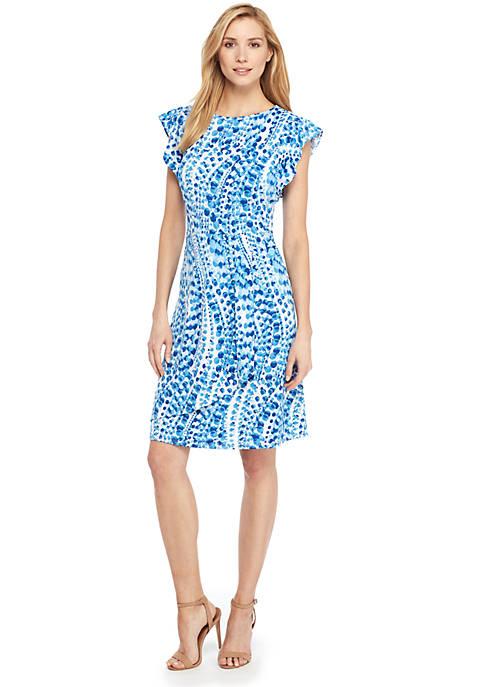 Petite Flutter Sleeve Jewel Neck Dress