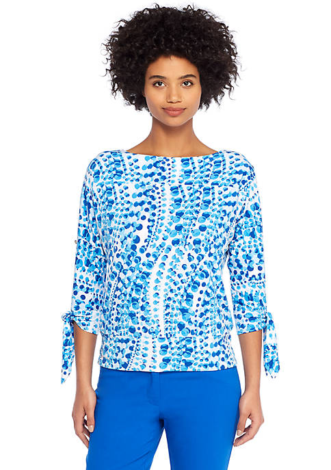 Print Banded Knit Top
