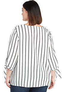 be9ade8f7b5 Plus Size Tie Sleeve V-Neck Blouse
