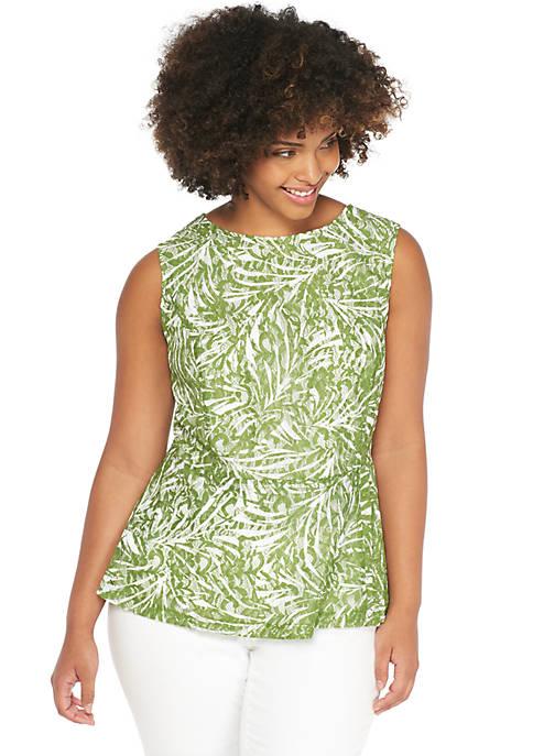 Plus Size Sleeveless Printed Lace Peplum Top