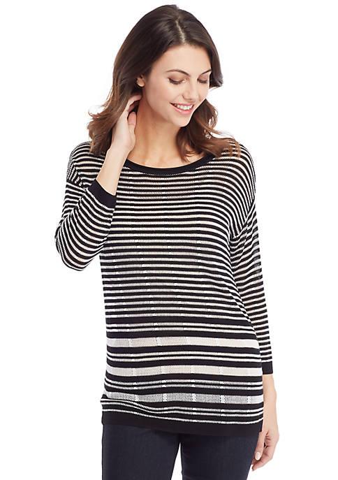 Petite Burnout Stripe Sweater