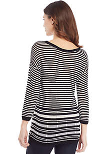 Petite Burnout Stripe Sweater