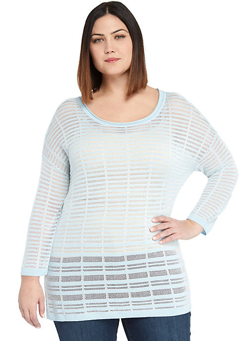 Plus Size Burnout Stripe Sweater