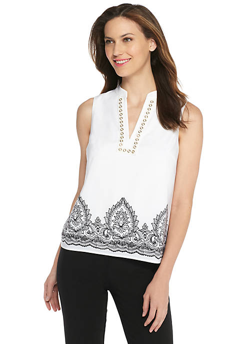 Sleeveless Printed Top with Grommets