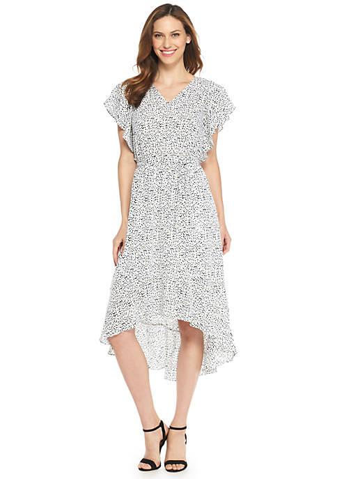 Flutter Sleeve High Low Ruffle Hem Dress