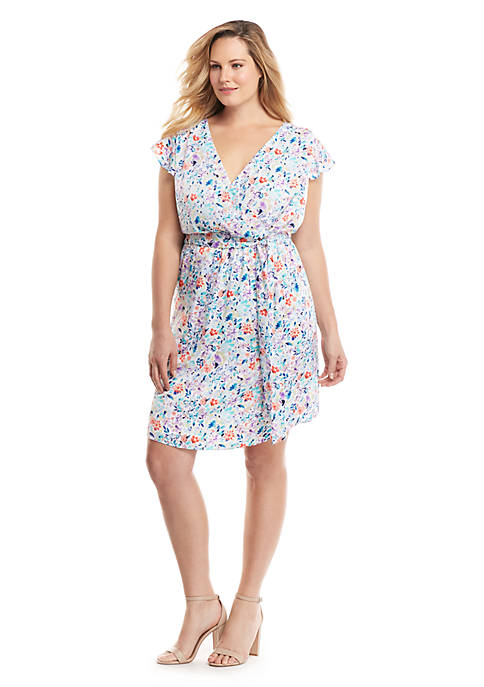 Plus Size Printed Flutter Dress
