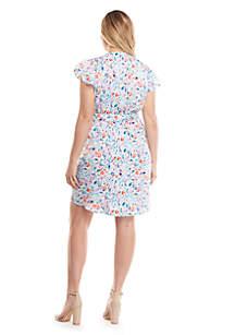 3f6d34f62ce Plus Size Printed Flutter Dress