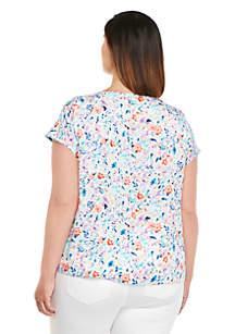 Plus Size Short Sleeve Bar Detail Top
