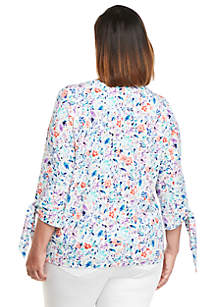 Plus Size Print Banded Knit Top