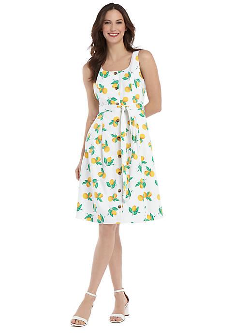Petite Sleeveless Tie Waist Dress