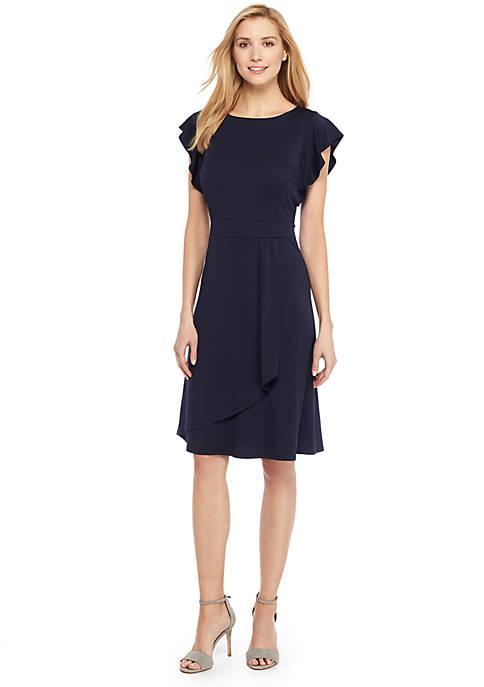 Flutter Sleeve Jewel Neck Dress