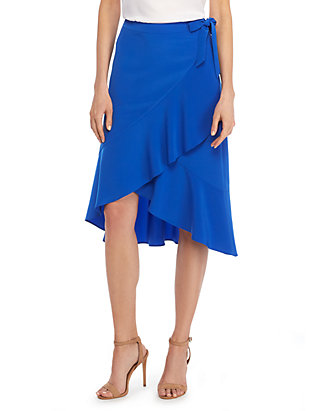 3b61e65d31 Knee Length Ruffle Front Skirt | THE LIMITED