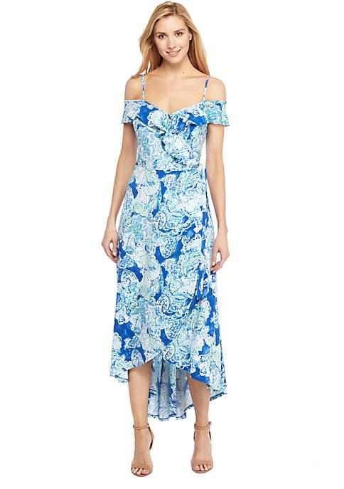 Cold Shoulder Flutter High Low Dress