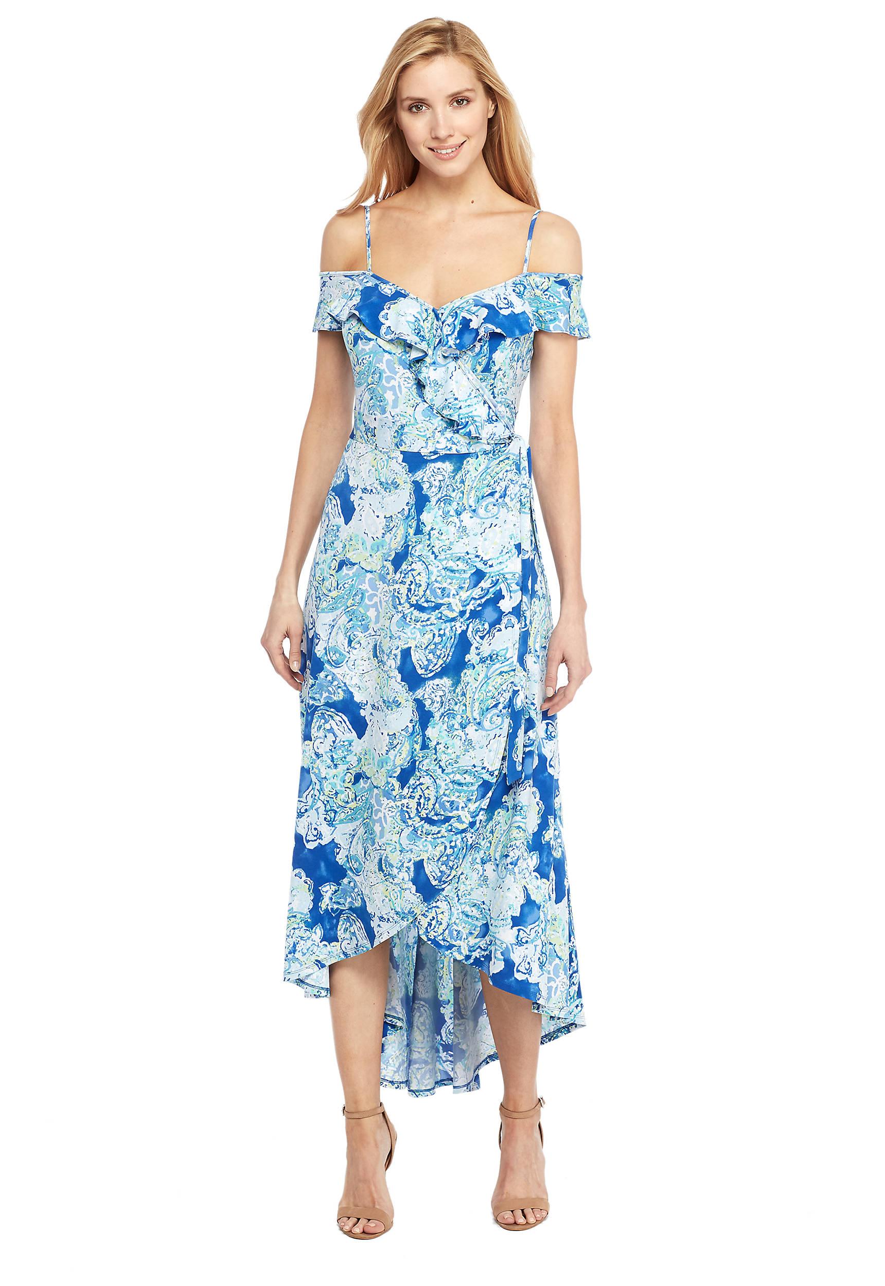 87c775221b Cold Shoulder Flutter High Low Dress