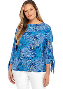2f550764156 Plus Size Print Banded Knit Top