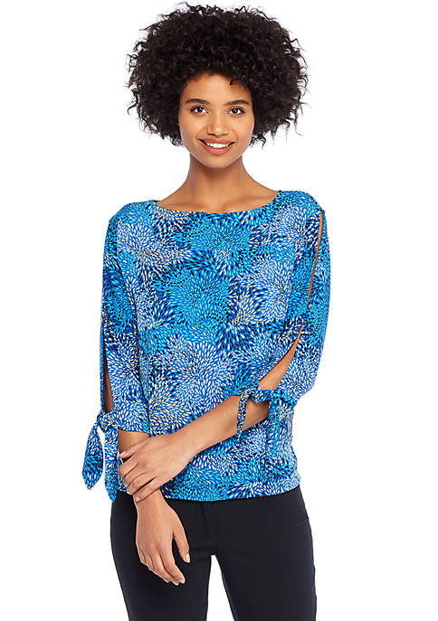 Petite Print Banded Knit Top