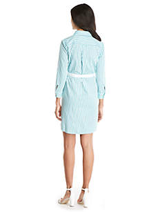 Petite Striped Shirt Dress