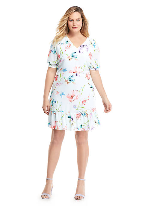 Plus Size Printed Knee Length Dress