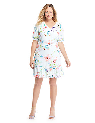 Plus Size Printed Knee Length Dress | THE LIMITED